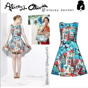 Alice & Olivia Town Print butterfly dress 8 NWT
